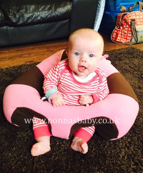 """Baby Mya looks very happy in her Hugaboo! At 4 months old she is enjoying the freedom it gives her, and mummy Linda said """"she loves to sit up in it and it's so comfy. Very happy with both the Nap Mat and Hugaboo, both the best two items I have ever bought"""". • Find out more about Hugaboo: https://nonnasbaby.co.uk/hugaboo-baby-seat/"""