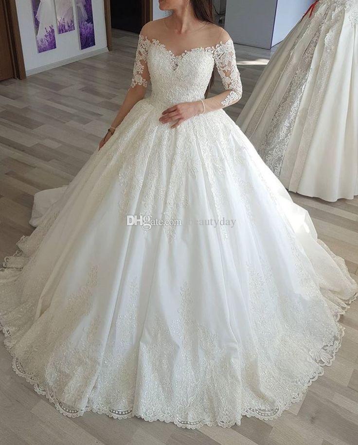 5dd2fec6ad2 Said Mhamad 2018 Wedding Dresses Arabic Dubai Bride Robes Ball Gown Vintage Wedding  Dress Maternity Pregnant 3 4 Long Sleeve Bridal Gowns