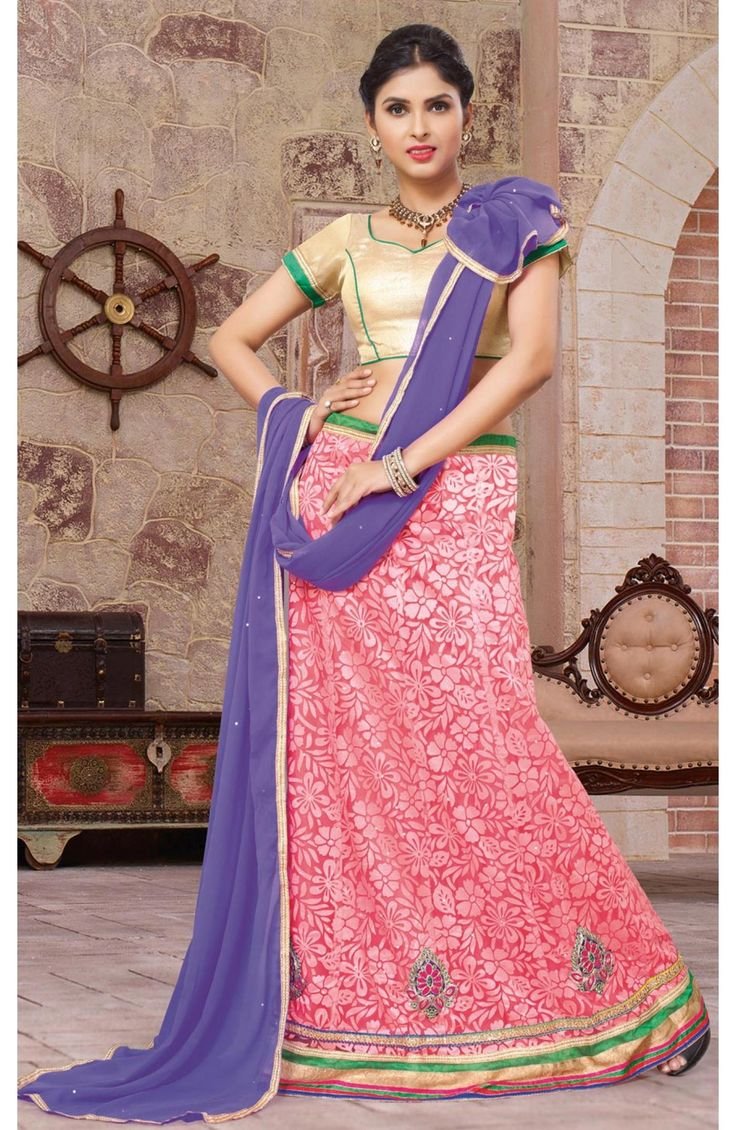 Charming Peach Color Net Party Wear Un-Stitched #Girlish #Lehenga. #style #indiandress Rs. 2220/- http://goo.gl/BBEKHQ