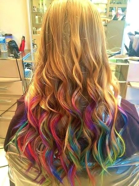 rainbow ombre, so fun but would never have the guts to do it