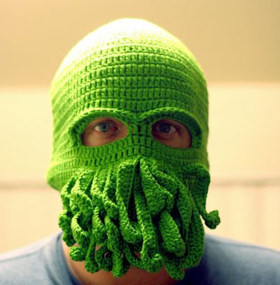 cthulhu: Beards, Eggs Protein, Stuff, Cthulhu Skiing, Crochet Hats, Skiing Masks, Handmade Cthulhu, Stables, Protein Yarns