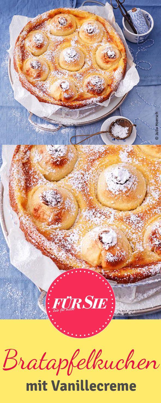 So schmeckt Freude: saftig gefüllt und auf Vanillecreme gebette. Das leckere Rezept für den Bratapfelkuchen findet ihr hier. Guten Appetit und viel Spaß!