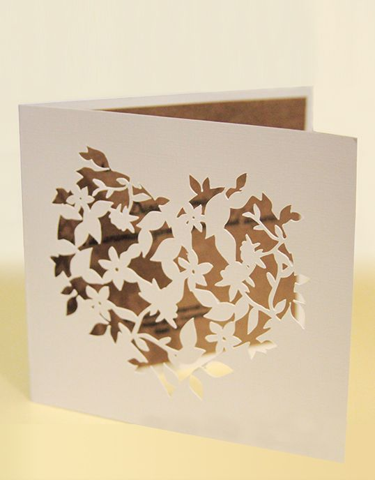 Lovely Colors, special wedding invitation, laser cut invitation, Shape of My Heart, flowers