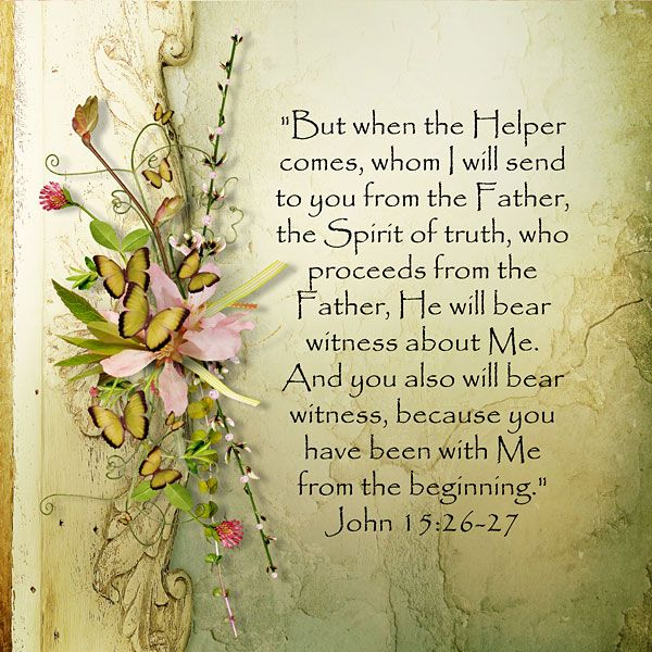 """""""But when the Helper comes, whom I will send to you from the Father, the Spirit…"""