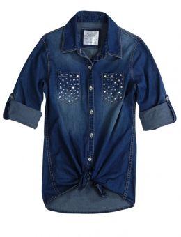 Justice Clothes for Girls Outlet | Embellished Denim Shirt | Girls Shirts Clothes | Shop Justice