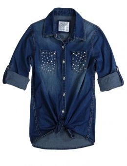 Justice Clothes for Girls Outlet | Embellished Denim Shirt | Girls Shirts Clothes | Shop Justice
