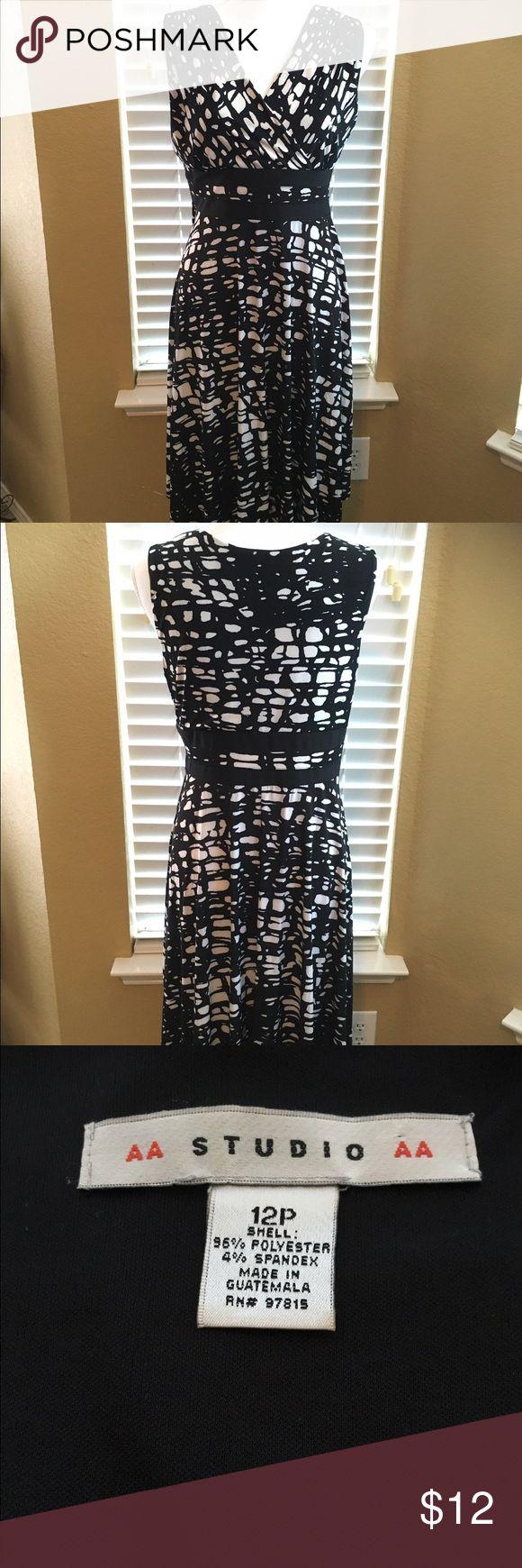 NWOT classic black & white dress V neck black & white fun print dress with slim design waistline made of polyester spandex blend Dresses