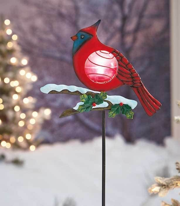 Cardinal Solar Light Bird Stake Garden Yard Lawn Flower