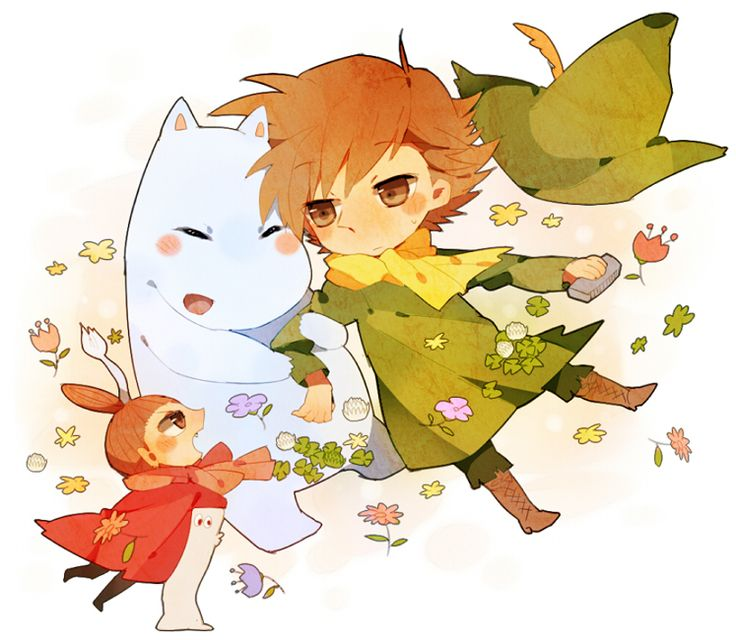 Snufkin, Little My and Moomin