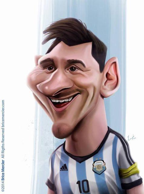 El futbolista argentino del F.C. Barcelona, Lionel Messi, caricaturizado por el artista Brice Merci...