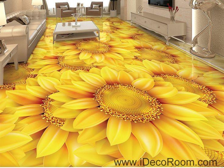 Gold Sunflowers Field 00044 Floor Decals 3D Wallpaper Wall