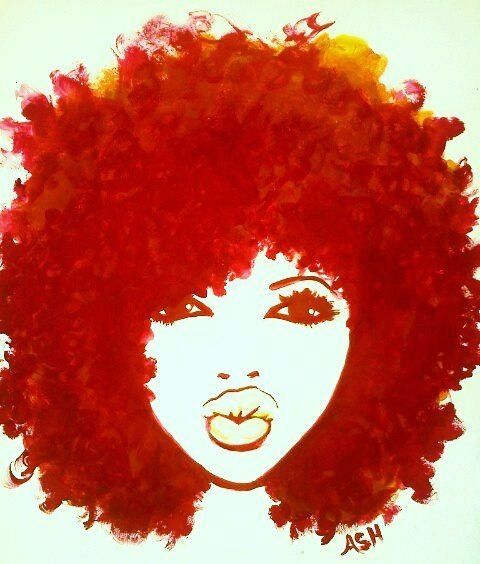 funky afro - natural hair art.