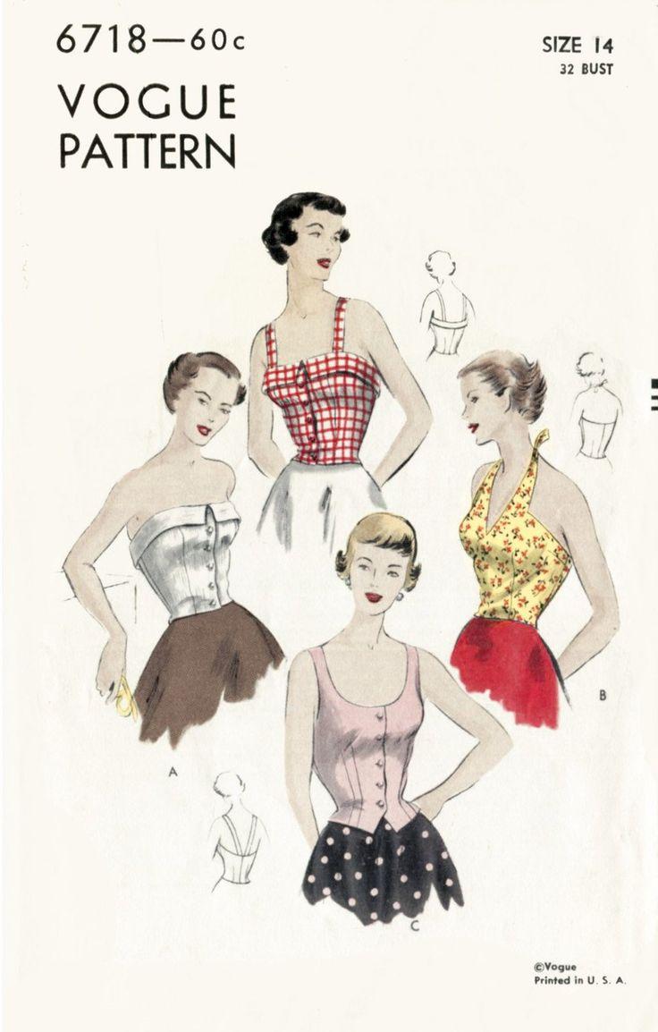 Vogue 6718 1950s crop top vintage sewing pattern