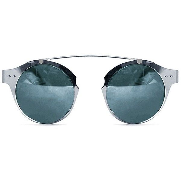 Spitfire Girl Intergalactic 50mm Round Sunglasses (562.770 IDR) ❤ liked on Polyvore featuring accessories, eyewear, sunglasses, silver, round frame glasses, lens glasses, round lens sunglasses, futuristic sunglasses and round sunglasses