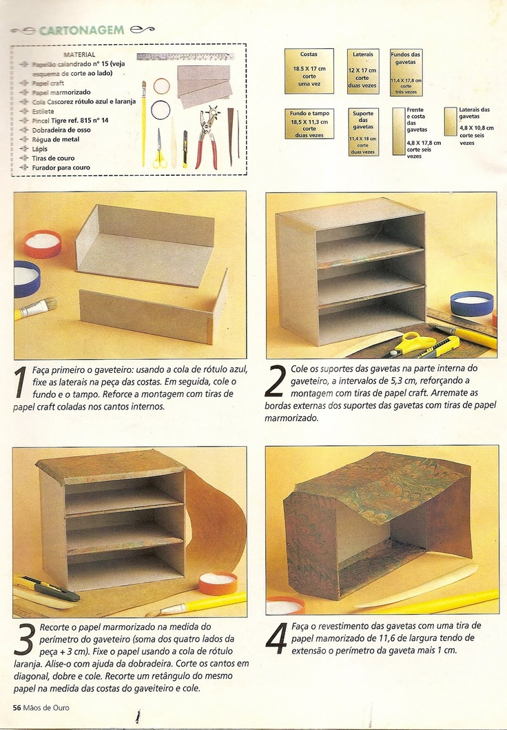 Artesanato e Cia: Mini gaveteiro - cartonagem - passo a passo