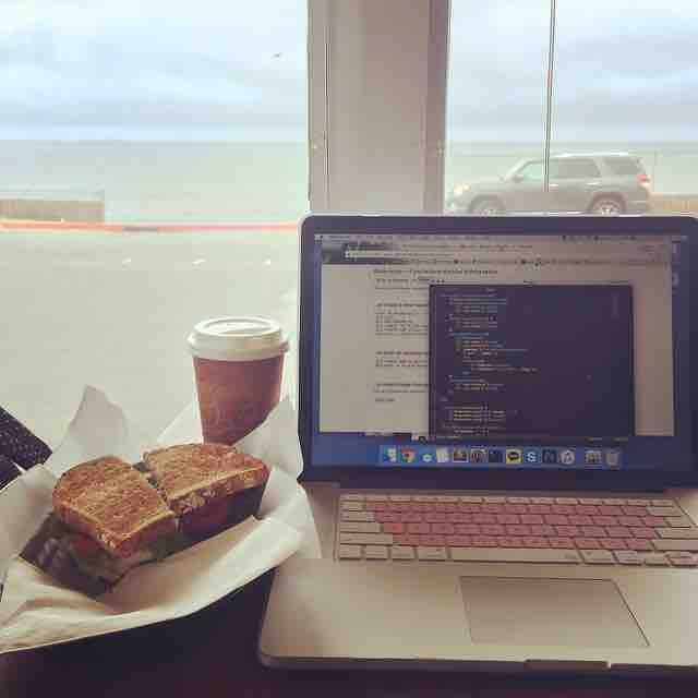 Brain brain...  googlegooglegooglegoogle  #coding #programming #javascript #js #jquery #ocean #view #study #macbook #chasingdreams #coffee #deli #cafe