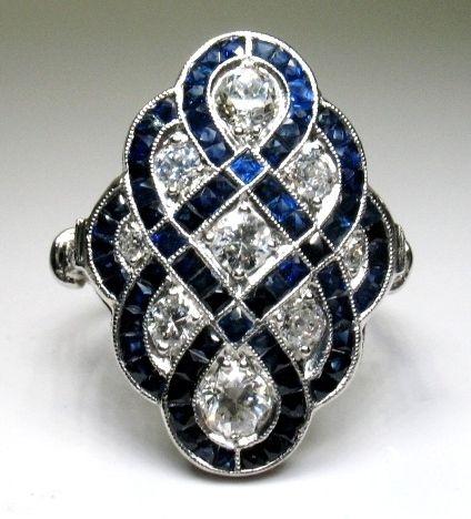 Art deco -Anillo de platino, diamante y del zafiro.