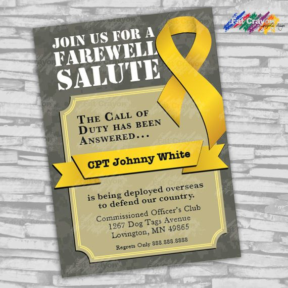 Yellow Ribbon Deployment Party Invitation by FatCrayonGraphics,$15.00