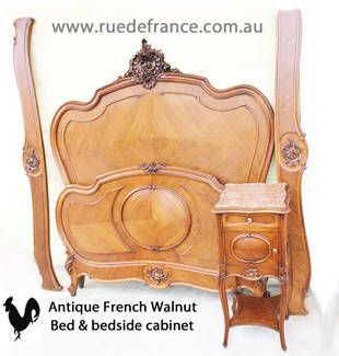 ANTIQUE FRENCH CARVED WALNUT BEDS & BEDSIDE CABINETS