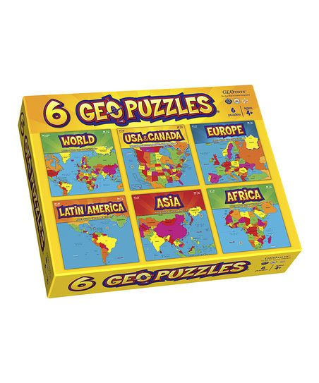 This fantastic set of six puzzles is a marvelous mix of fun and education! Each one features pieces shaped like countries, states and provinces that fit together to create a beautiful, colorful map. As budding cartographers put together Europe and Latin America with the help of included mini posters, they build fine motor, cognitive, language and problem-solving skills.   CHOKING HAZARD: Small parts. Not for children under 3 years