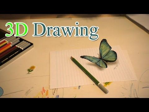 3D Drawing of butterfly /Anamorph speed painting