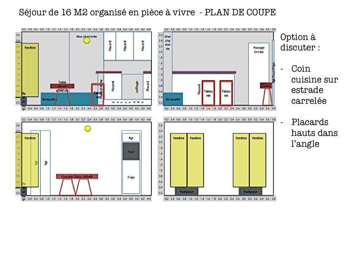 Plan de coupe - Option possible :  - Surélever le coin cuisine sur une estrade carrelée  - Disposer des placards hauts recoupés pour intégration sur base de la profondeur de la cheminée afin d'optimiser les rangements