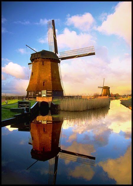 Windmill Reflection, Schermerhorn, Holland by Jaap Hart