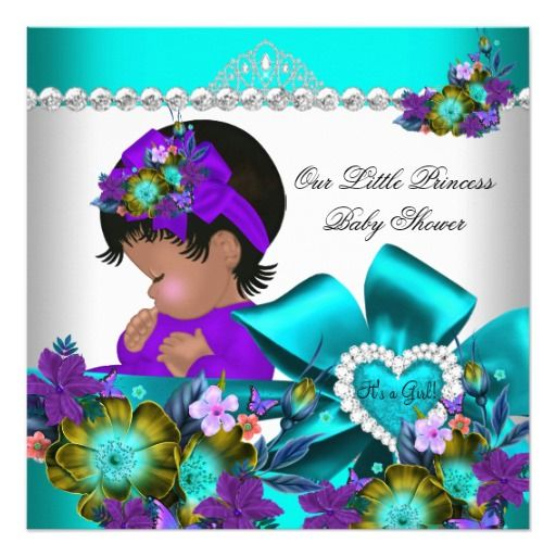 princess baby shower girl teal blue purple 3 525x525 square paper invitation card