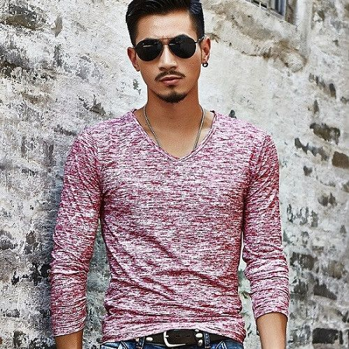 Hot 2017 Spring Autumn Fashion Brand V-Neck Slim Fit Long Sleeve T-shirt Men Trend Casual Men T-Shirt