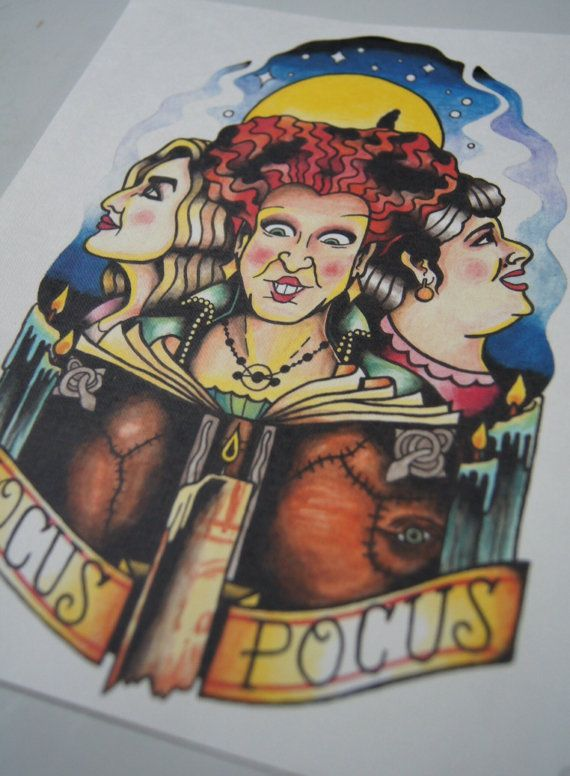 Hocus Pocus tattoo themed print by BosWorkshop on Etsy