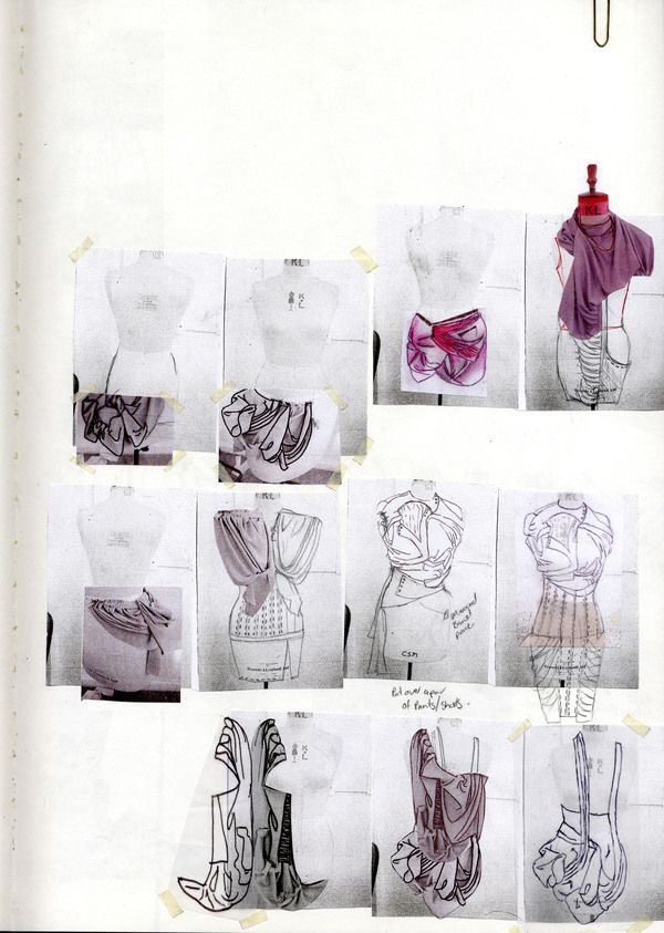 Fashion Portfolio - fashion design development with sketches & draping experiments; fashion sketchbook // Rebecca Ward