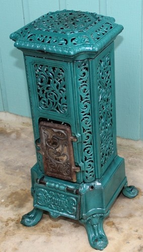Antique Godin Coal Cylinder Stove Cast iron capped with porcelian