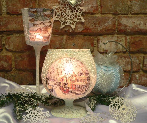 Decoupage. Christmas Candle of glasses. Master class
