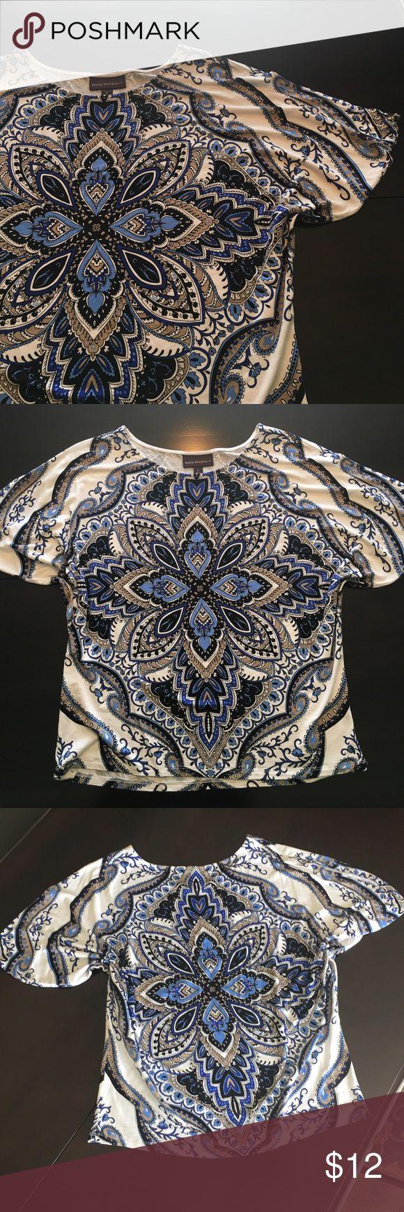 Dana Buchman batwing style patterned top. Dana Buchman batwing style top. Gorgeous blue, cream & white design.  Excellent condition. Dana Buchman Tops Blouses