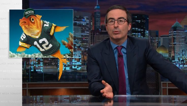 Green Bay Packers cap and jersey on LAST WEEK TONIGHT WITH JOHN OLIVER: EPISODE 58 (2015) #GreenBayPacker