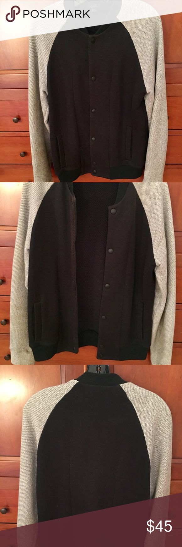 COS men's jacket warm and thick. COS Jacket. Black jacket with oatmeal colored sleeves. 90% cotton. US size small. Warm and cozy like a really thick lined sweater. COS Jackets & Coats Utility Jackets