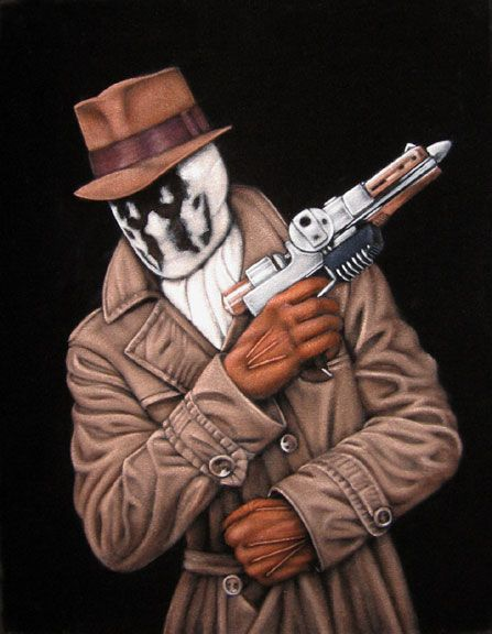 Bruce White paints pop-culture icons on black velvet.  My fave of his is Rorschach but only because I have a soft spot for that big ball of sweetness!  Check out all his work at velvetgeek.com