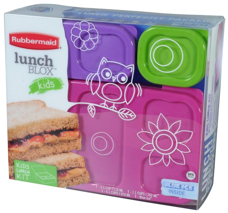 LunchBlox Kid's Flat Lunch Box Kit: These modular containers snap together to stay organized in kids' lunch bags. Containers snap to a Blue Ice tray to keep foods cool and containers neatly organized. All of the components are BPA free. The Containers are also Microwave, dishwasher and freezer safe. Kit includes: 1 large container with dividers (4.1 cup capacity), 1 side container (1.2 cup capacity), 1 sauce container (0.5 cup capacity) and 1 Large Blue Ice.