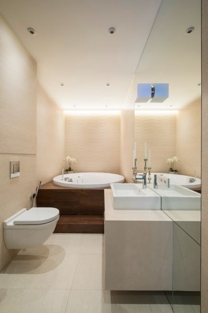 Simple Toilet And Bathroom Interior Design Modern Ideas Beige Small Bathroom Wooden White Ceramic Jacuzzi Large Frameless Mirror With Elegant Square Sink And Wall Candle