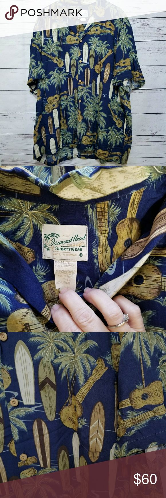 """Vintage Diamond Head Sportswear Hawaiian shirt Vintage Diamond Head Sportswear Hawaiian shirt navy blue surfboards ukulele palm trees 100% rayon. Style R-10 Size XXL EUC!! No damage, stains or holes. Classic Hawaiian shirt made in Hawaii. Ukulele and surfboards print on navy blue. Wooden buttons. Armpit to armpit: 28"""" Sleeve length from underarm: 5"""" Overall length:31"""" **All measurements are done unstretched, flat lay and are approx.  ☆Smoke Free home Diamond Head Sportswear Shirts Casual…"""