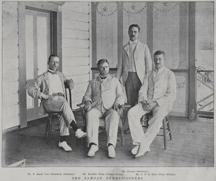 The Samoan Commissioners.Full length group portrait of the Samoan commissioners, Mr F Speck Von Sternburg (Germany), Mr Bartlett Tripp (United States), Mr Morgan (Secretary), and Mr C N E Eliot (Great Britain)