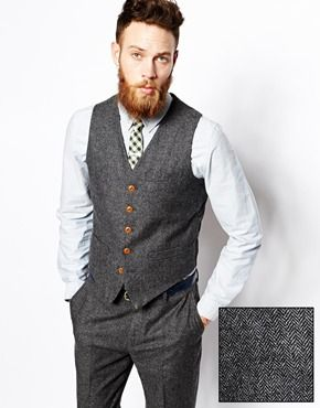 ASOS Slim Fit Waistcoat In Herringbone