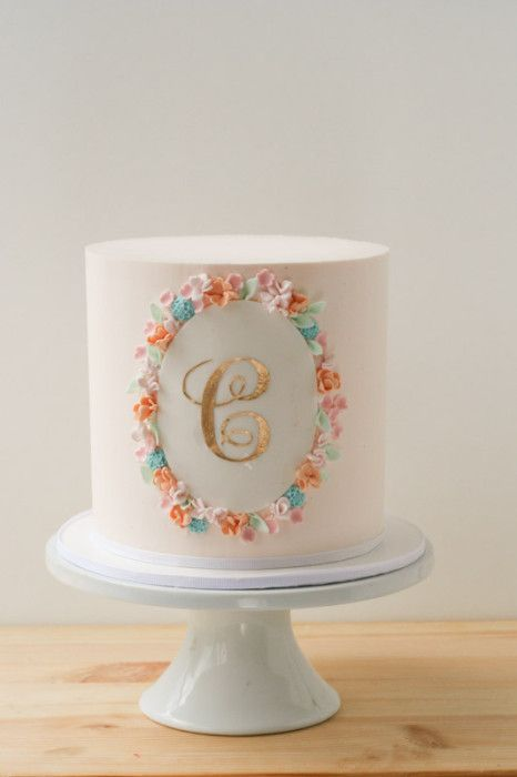 sweet buttercream cake with gold monogram | erica obrien cake design