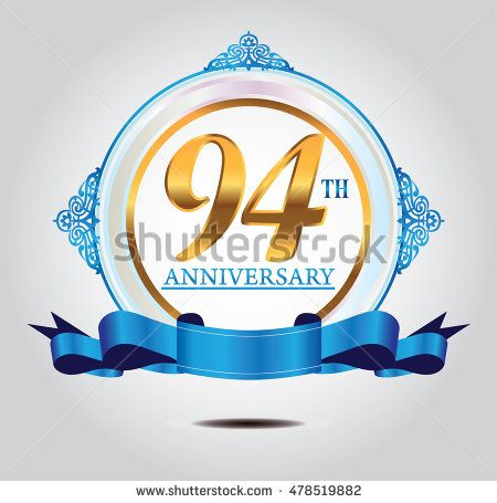 94th anniversary golden logo with soft ring color ornament and blue ribbon