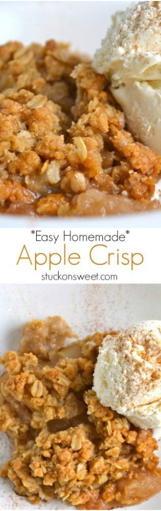 Easy Homemade Apple Crisp | stuckonsweet.com