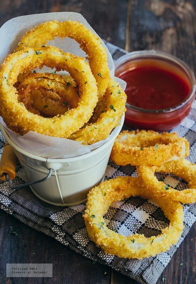 Receta de los aros de cebolla crujientes. Receta con fotografías del paso a paso y recomendaciones de degustación. Recetas de botanas