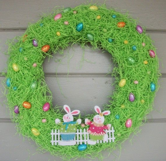 Easter Egg WreathEaster Grass, Easter Crafts, Easter Fun, Easter Wreaths, Easter Eggs, Wreaths Ideas, Wreaths Easter, Happy Easter, Eggs Wreaths