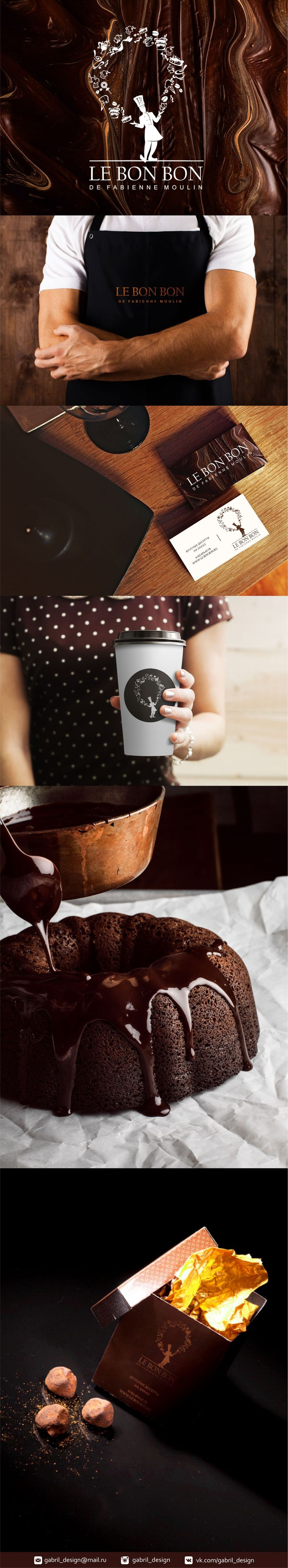 """Логотип, фирменный стиль, одежда, упаковка для кафе-кондитерской """"Le Bon Bon"""". Cafe, coffee, logo, design, cook, candy, chocolate"""