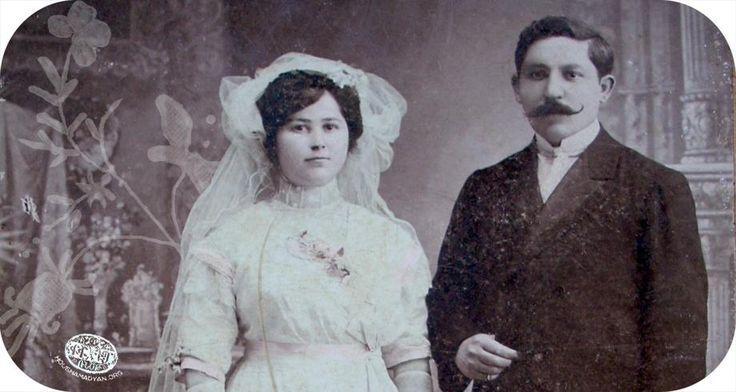 YOZGAT..düğün fotoğrafı, 1912: Catherine Kalderdjian ve Levon Attar Megerian