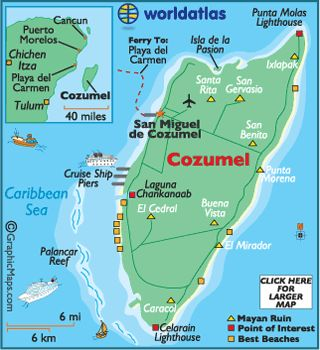 Cozumel is an easy island to navigate because of its size.  Getting to Cozumel is easy with international flights arriving daily. A flight from Cancun on MayAir is a quick 15-minutes. Ferry service from Playa del Carmen is frequent and only takes 35-minutes.